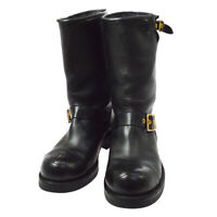 CHANEL CC Logos Medium Boots Shoes Black Leather France Authentic AK45430