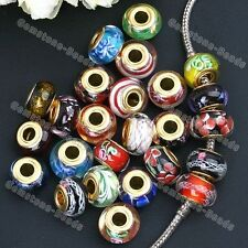 20x Lampwork Glass Large Hole Loose European Beads Fit Charms Snake Bracelet DIY