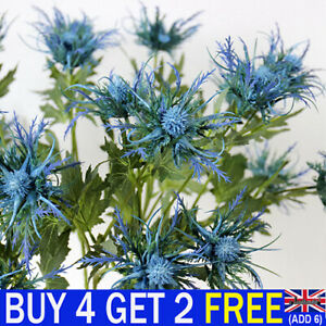 Artificial 3 Fork Flowers Eryngium Plants Thistles Leaves Home Bunch Party Decor