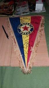 VINTAGE AC SPARTA PRAHA FOOTBALL PENNANT FLAG AUTOGRAPHS