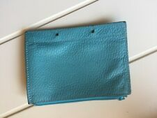 TRISH MCEVOY Makeup Planner Turquoise blue pebbled leather zip jewelry pouch