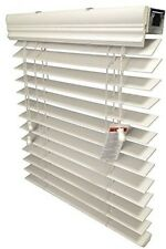 """US Window And Floor 2"""" Faux Wood Blind Smooth White 34.375"""" X 60"""" , 34"""