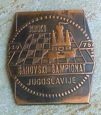 XXXI. Yugoslav Chess Championship 1976. Bor Serbia, vintage plaque, box - Rarre