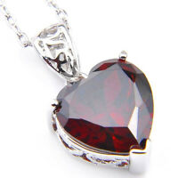Genuine Natural Heart Fire Red Garnet Gemstone Pendant 925 Silver Necklace