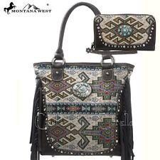 Montana West Western Aztec Fringe Grey Handbag + Wallet