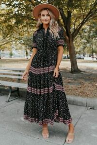 Free People Rare Feelings Maxi Dress Black Combo XL SOLD OUT