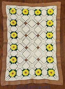 "Vintage Afghan Hand Crochet Throw Blanket 3D Yellow Roses Bohemian 51"" X 34"""