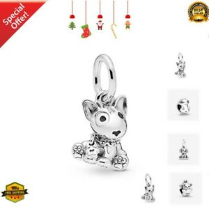 Genuine 925 Sterling Silver Bull Terrier Puppy Pendant HANGING Charm Christmas G