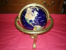 "Blue Lapis World Globe 15"" Tall Gemstone Inlay Brass-tone Frame & Tripod Compass"