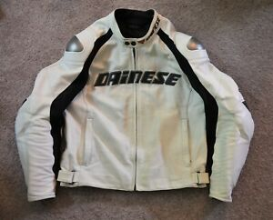 Dainese White Perforated Leather Motorcycle Track Jacket EU 54 US 44 Armor Liner
