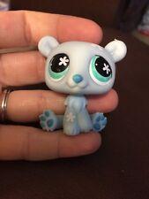 LITTLEST PET SHOP POLAR BEAR BLUE & WHITE w GREEN FLOWER EYES #646