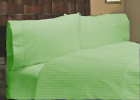 Home Linen Bedding Collection Egyptian Cotton 1000 Count US Size Sage Striped
