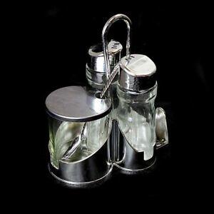Stainless Steel,Glass salt, Pepper, Oil & vinegar Holder / Dispenser 4 PC Set