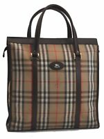 Authentic Burberrys Nova Check Canvas Leather Tote Bag Brown Beige B7679