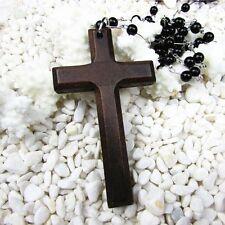 Necklace Black Beads Pendants Wooden Cross Necklace Necklaces Cross Necklace