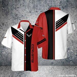 CORVETTE C7,C6,C5,C4 3D Full Printing Hawaiian Button Shirt Full Size S-5XL