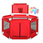 Foldable Baby Playpen Fence Kids Safety Activity Center Play Yard Oxford 10 Ball