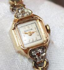 VINTAGE BULOVA 14K YELLOW GOLD DIAMOND 21 JEWEL LADIES WATCH WORKING