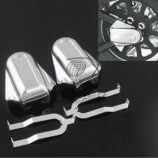 Chrome Bar Shield Rear Axle Covers Swingarm Cap For Harley Softail FLSTC FLSTN