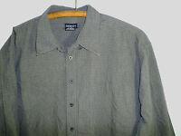 2XL Gray Plaid Shirt Long Sleeve Button Down Shirt George Men's