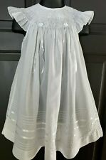 Will'Beth White Smocked Bead & Ribbon Embellish Infant Bishop Dress Gown 18 M