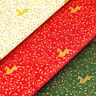 Gold Print 100% Cotton Fabric FQ Christmas Gift Reindeer Deer Holly Leaves VK122
