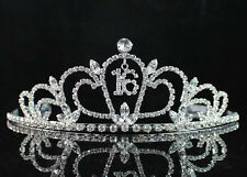 SWEET SIXTEEN 16 FLORAL RHIESTONE TIARA CROWN W/ HAIR COMBS BIRTHDAY PARTY T1722