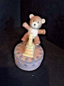Cosmos 80104  Porcelain Rocking Horse w/ Bear Musical Figurine, Pink New No Box