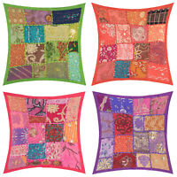 """Fair Trade 16""""x16"""" Patchwork Cushion Covers Decorative Embroidery Boho Moroccan"""