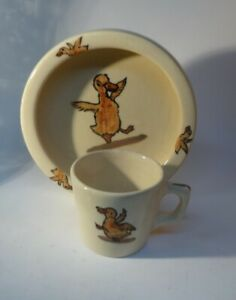 *Vintage WELLER Ware Childs Dish and Cup Zona DUCK