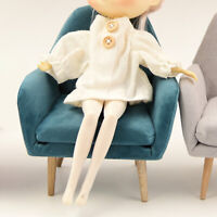 Wooden Dollhouse Furniture 1/6 Armchair Sofa Miniature for BJD Doll Blue