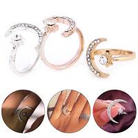 Mode Lune et étoiles bagues bijoux de mariage femme ouvert bague réglable cadeau