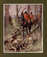 FOXHOUNDS HORSES AND RED-COAT HUNTSMEN WITH WHIP HUNTING FOX, DECORATIVE PRINT