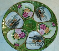 "Hand Painted Nippon 6 Well Oyster 9"" Plate With Hangers Oriental Roses Landscape"