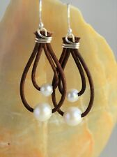 Pearls on Leather Earrings Handmade Boho Bohemian Gift for Her Yevga 2.1'' long