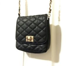 Aldo Black Quilted Crossbody HandBag with Leopard Chain