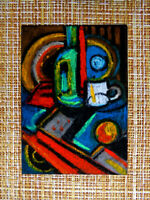 ACEO original pastel painting outsider folk art brut #010300 abstract surreal