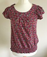 F&F Size 8 Ladies Purple & Pink Floral Print Short Sleeve T Shirt Top Sun Day