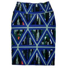 LuLaRoe Cassie Skirt Womens S Blue Gray Geo Triangles Stretch Knit Knee Length