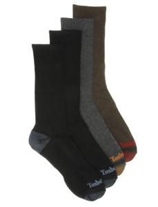 Timberland 4-Pair Mens Comfort Crew Socks Assorted Colors - New Retail Packaging