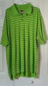 The Foundry Supply Co Men's Green Striped Short Sleeve Polo Shirt Size 3XLT Tall