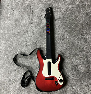 PS2 PS3 Activision Red Guitar Hero 5 Wireless Guitar NO DONGLE OR BATTERY COVER