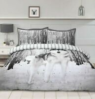 Wolf Snow Forest 3D Duvet Cover With Pillowcases Reversible Bedding Set