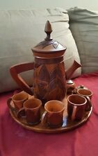 Vintage Hand Carved Wood Pitcher Cups Tray Tiki Bar Perfect