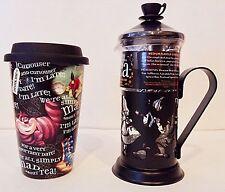 Disney Parks Exclusive Alice in Wonderland Tea Press + Alice Travel Mug W/ Lid