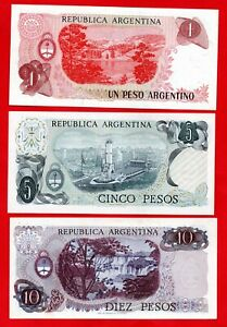 3 X ARGENTINIAN BANKNOTES IN SUPERB CONDITION. 1, 5 & 10 PESO NOTES. ARGENTINA.