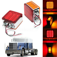 2x Amber + Red Square 39 LED Double Face Stud Mount Cab Fender Turn Signal Light