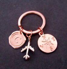 Compass Keychain,Rose Gold Airplane Keychain travel keychain