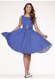 H&R LONDON POLKA DOT SWING 50'S PINUP ROCKABILLY BLUE PUNK VINTAGE PROM DRESS