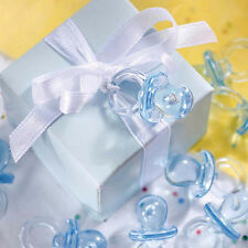 24 New Baby Shower Celebration Party Clear Blue Boy Dummy Pacifier Gift Favours